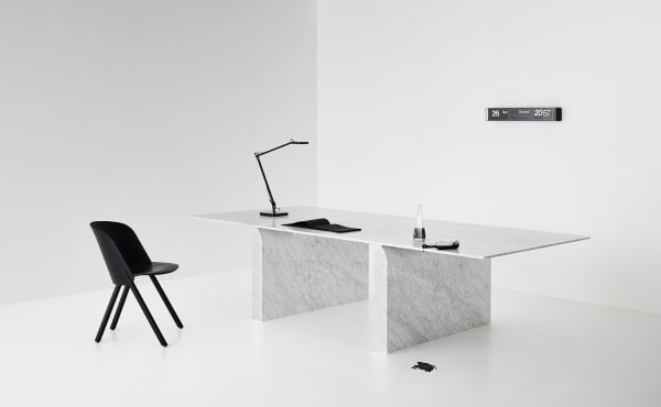 Nendo Oki Sato table in white carrara marble