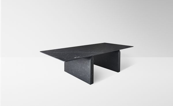 dining table in black marquina marble desing by Nendo Oki Sato