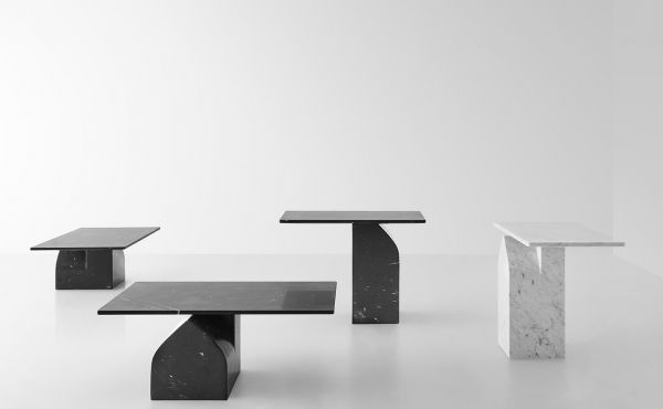 side tables Seesaw 50 in marble by Nendo Oki Sato