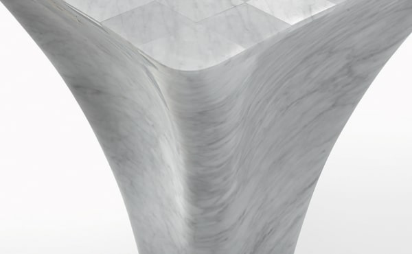 Chess table in White Carrara marble by Ross Lovegrove