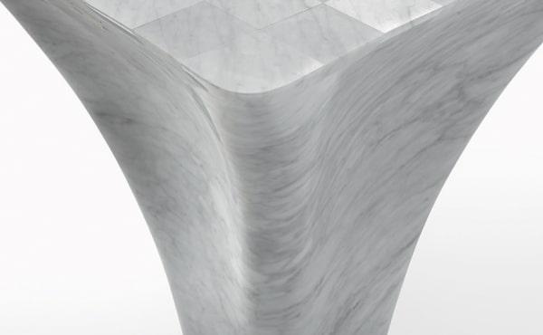 Mate 71, Ross Lovegrove, Tavolo scacchiera, in marmo Bianco di Carrara, finitura levigata