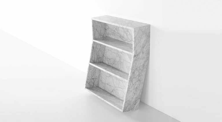 Melt Thomas Sandell 2010 Bookcase in White Carrara marble, matt polished finish