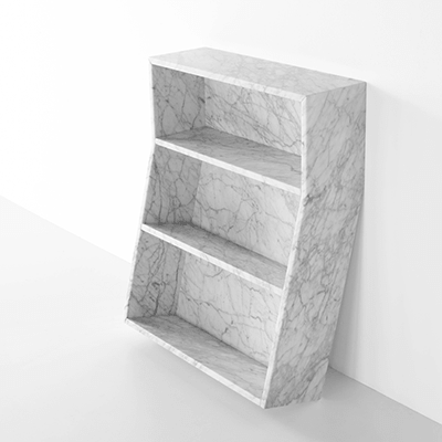 melt book case in marble