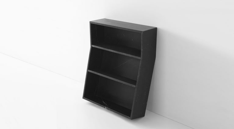 Bookcase in Black Marquina marble, matt polished finish