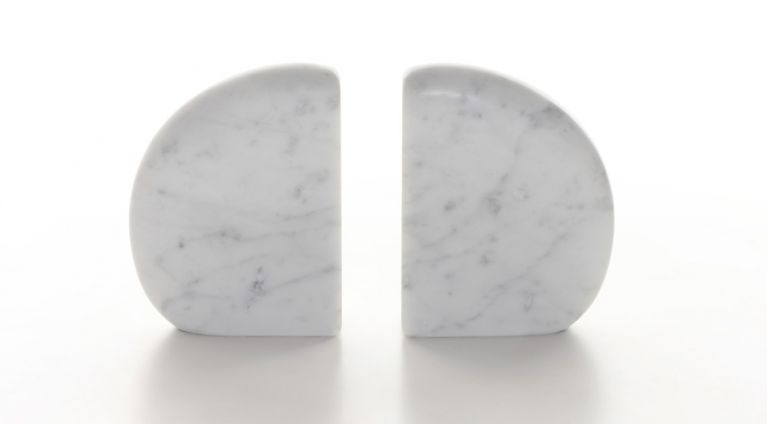 book ends in white marble