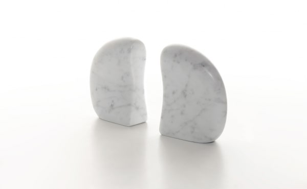neruda book ends in white marble
