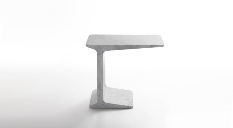 Side table in White Carrara marble, matt polished finish