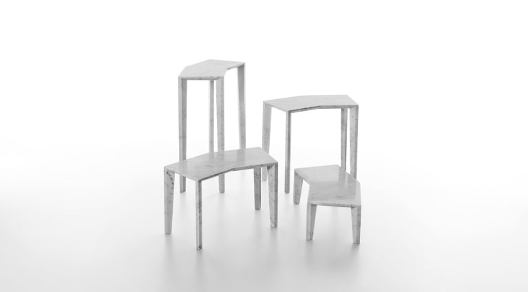 set of tables in white carrara marble Sid