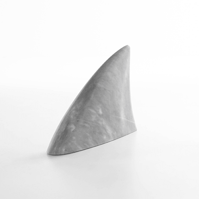 Sculpture, door-stop Squalo by James Irvine in Bardiglio marble, matt polished finish