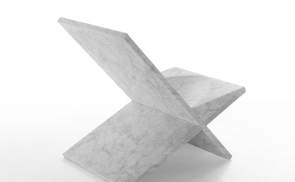 chair by Konstantin Grcic in White Carrara marble