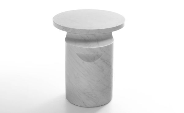 side table in white carrara marble by Konstantin Grcic