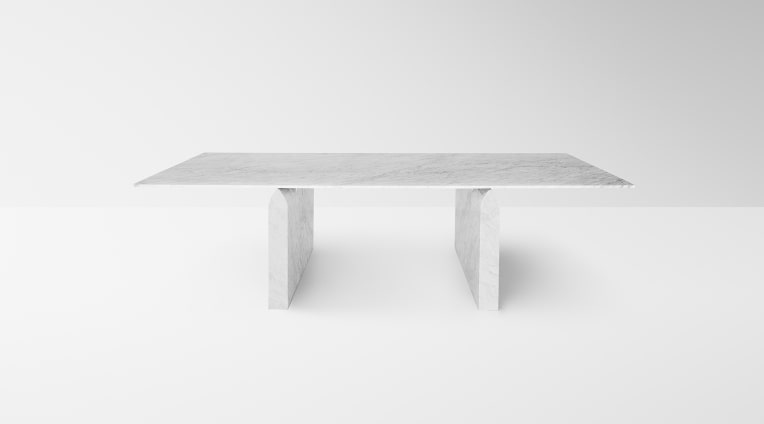 Seesaw 72 dining table, White Carrara marble