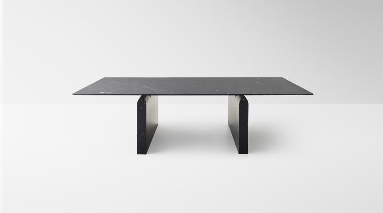 Seesaw 72 dining table, in Black Marquina marble