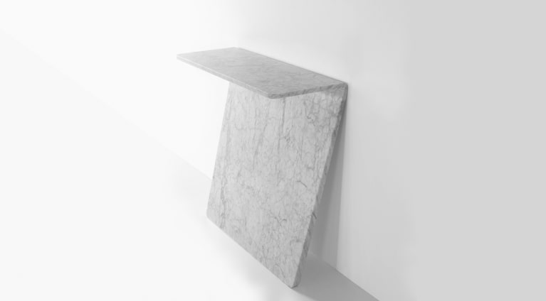titl consolle in White Carrara marble, matt polished finish, by Thomas Sandell