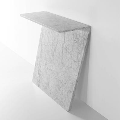 tilt console in white marble