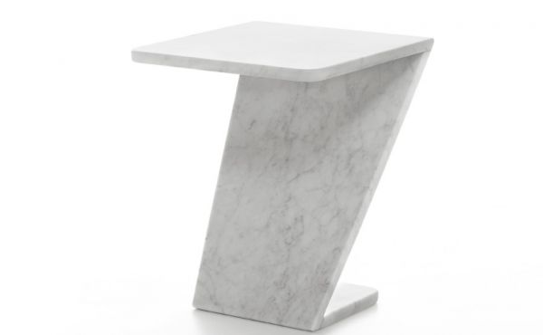 Tiltino side table in white carrara marble by Thomas Sandell