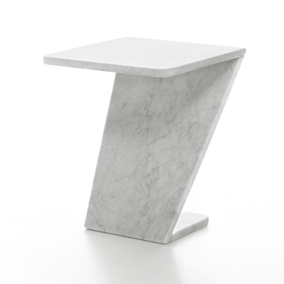Tiltino side table in white carrara marble