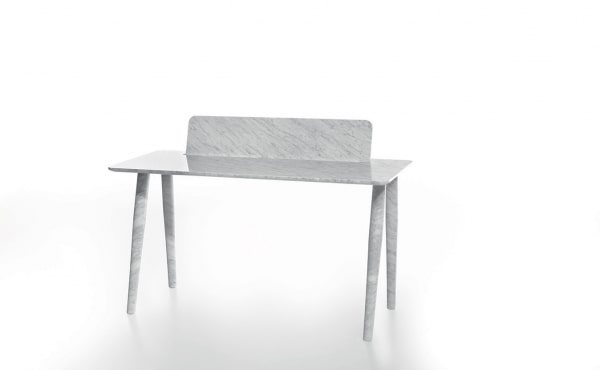 Toio Writing desk by Studio Irvine in White Carrara marble, matt polished finish.