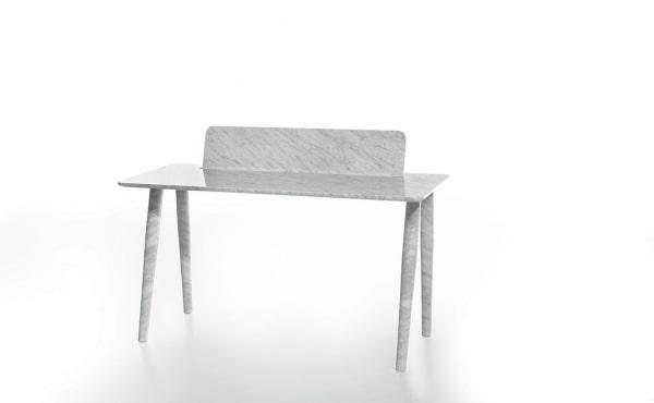 Toio Writing desk by Studio Irvine in White Carrara marble, matt polished finish.
