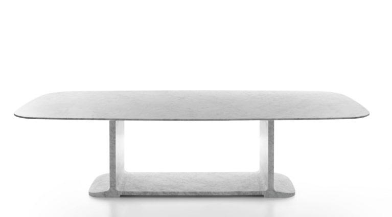 Toni dining table by James Irvine in White Carrara marble