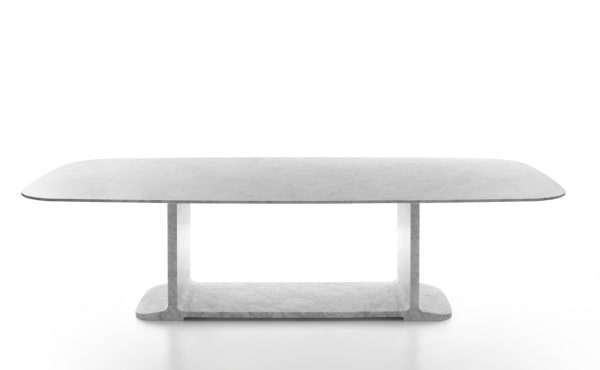 soft square dining table in white carrara marble