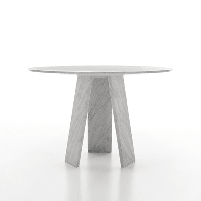 Topkapi 3 dining table by Konstantin Grcic in White Carrara marble, matt polished finish.