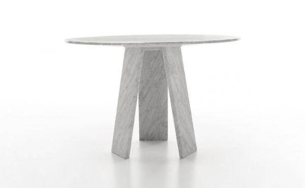 Topkapi 3 round dining table in white carrara marble