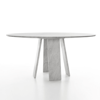 Topkapi 4 dining table by Konstantin Grcic in White Carrara marble, matt polished finish.