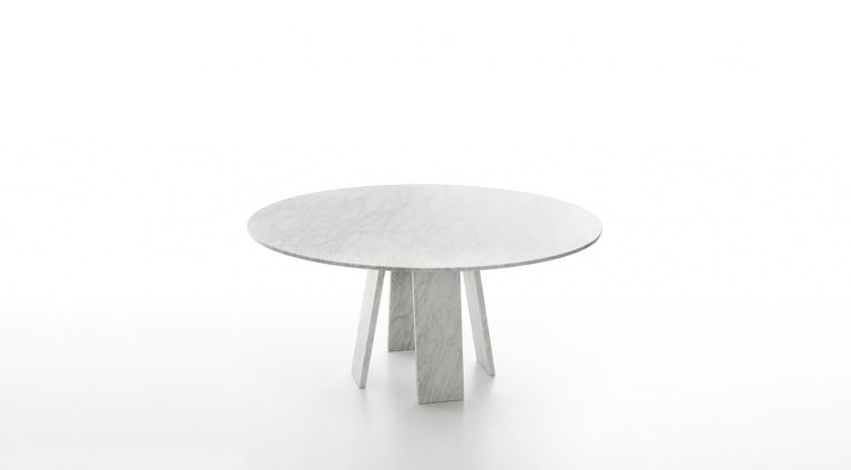 Topkapi 4 dining table in white carrara marble