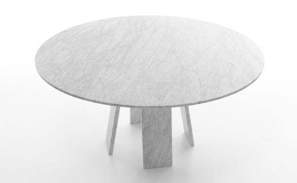 round dining table Topkapi 4 in white carrara marble