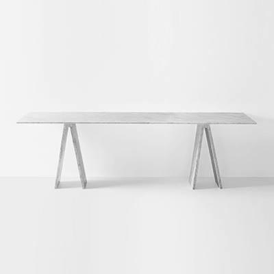 Topkapi console by Konstantin Grcic in White Carrara marble