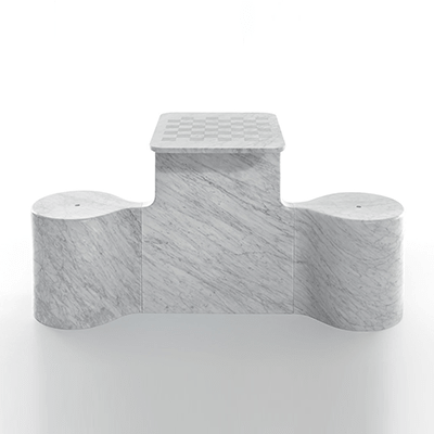 Two Mates chess table by Ross Lovegrove in White Carrara marble, matt polished finish.