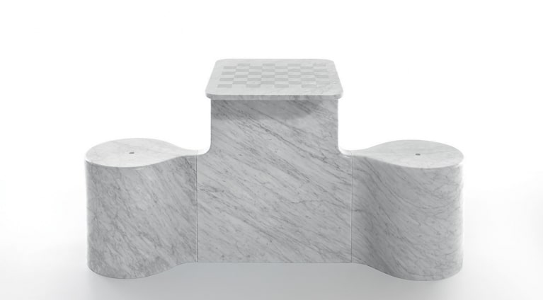chess table Two Mates by Ross Lovegrove in marble