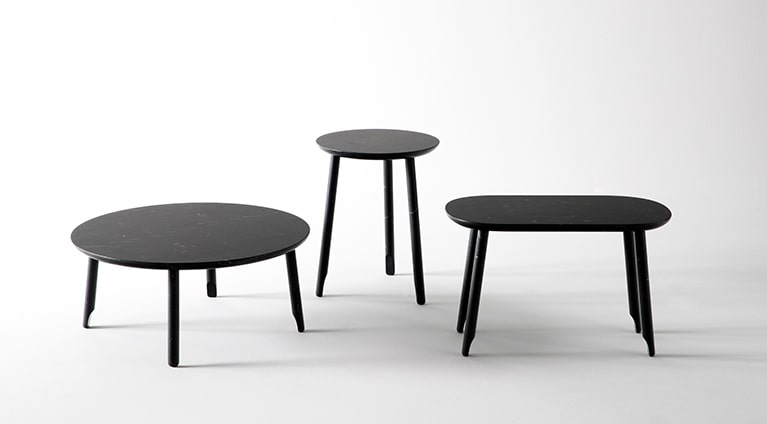 low table, round, Black Marquina marble, matt polished finished also available in White Carrara marble, matt polished finished