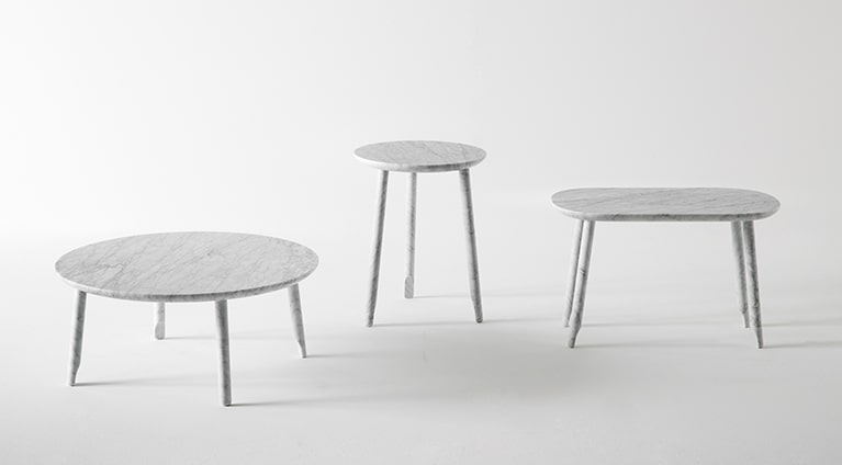 low table, White Carrara marble, matt polished finished also available in Black Marquina marble, matt polished finished