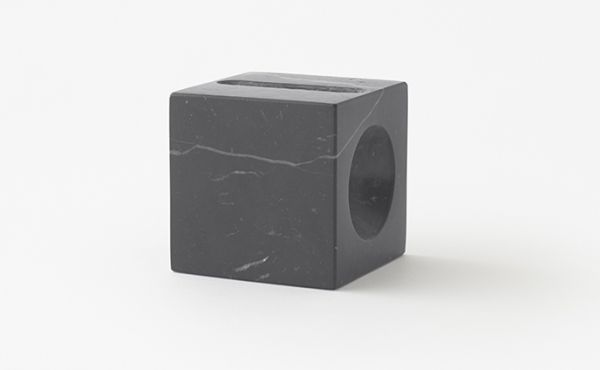 cone phone holder in black marquina marble