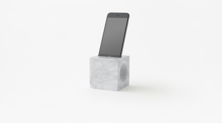 cone phone holder in white carrara marble