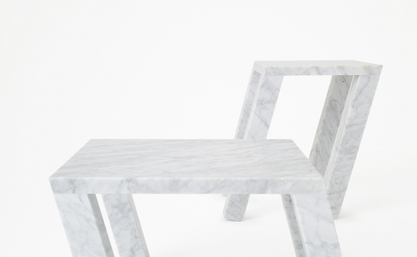side table in marble design by Nendo Oki Sato