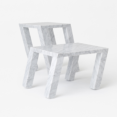 Nod side table by nendo in White Carrara marble