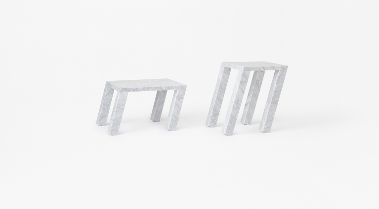 Nod side table by nendo in White Carrara marble, matt polished finish.