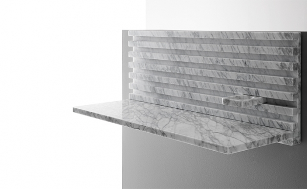 desk, wall-mounted modular system, White Carrara marble, matt polished finished also available in Black Marquina marble, matt polished finished