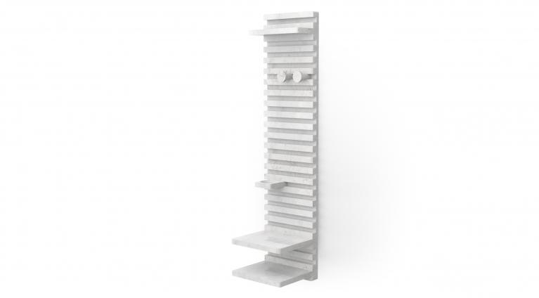 Place wardrobe Philippe Malouin 2017 Appendiabiti, sistema modulare a parete, in marmo Bianco di Carrara, finitura levigata disponibile anche in marmo Nero Marquina, finitura levigata