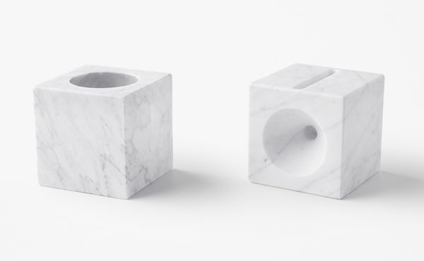 sphere candle holder in marble design by nendo oki sato