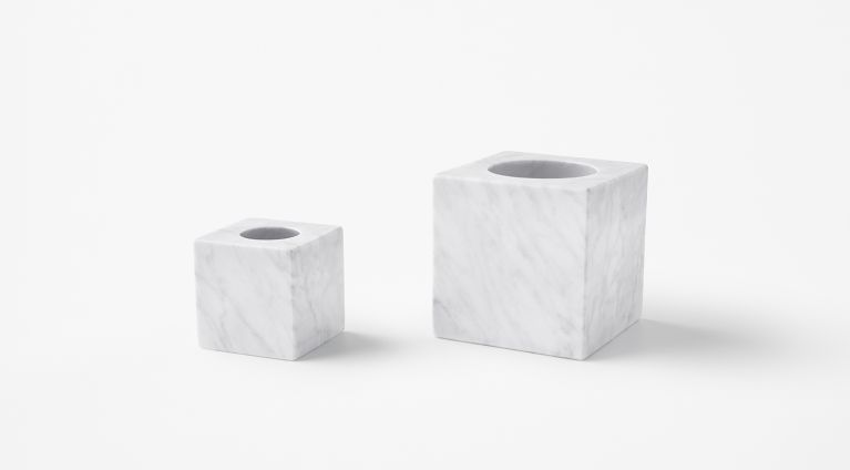 sphere candle holder in white carrara marble