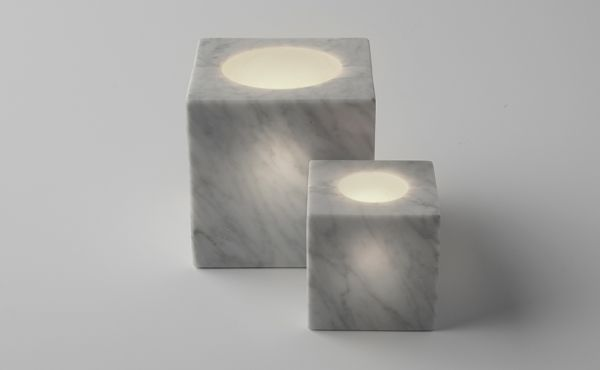 candle holder sphere in white marble