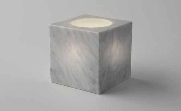sphere design by nendo in white marble