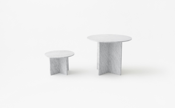 round Modular table system in white carrara marble