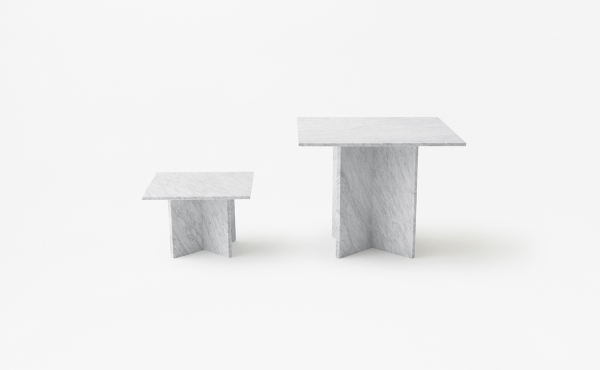 rectangular modular table system in marble