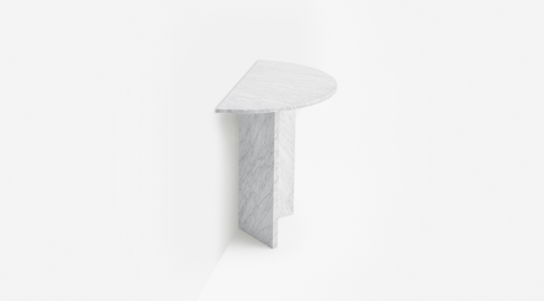 console in white marble design by nendo oki sato