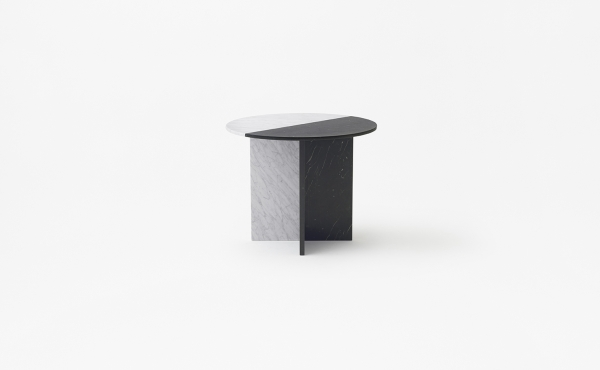 round modular table Split Joint in white or black marble